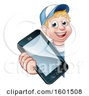 White Male Handyman Holding Out A Smart Phone Around A Sign