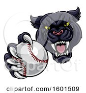 Poster, Art Print Of Tough Black Panther Monster Mascot Holding Out A Baseball In One Clawed Paw