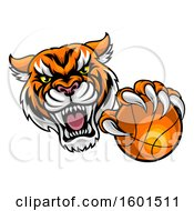 Clipart Of A Vicious Tiger Sports Mascot Grabbing A Basketball Royalty Free Vector Illustration