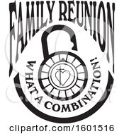 Clipart Of A Black And White Family Reunion What A Combination Cross And Heart Lock Design Royalty Free Vector Illustration by Johnny Sajem