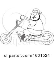 Clipart Of A Cartoon Lineart Black Male Biker Riding A Motorcycle Royalty Free Vector Illustration
