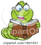 Clipart Of A Cartoon Caterpillar Mascot Character Reading A Book Royalty Free Vector Illustration