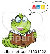 Clipart Of A Cartoon Caterpillar Mascot Character Reading An Alphabet Book Royalty Free Vector Illustration