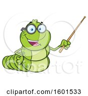 Clipart Of A Cartoon Caterpillar Mascot Character Holding A Pointer Stick Royalty Free Vector Illustration