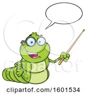 Cartoon Caterpillar Mascot Character Talking And Holding A Pointer Stick