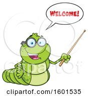 Cartoon Caterpillar Mascot Character Saying Welcome And Holding A Pointer Stick