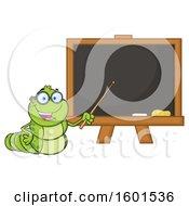 Cartoon Caterpillar Teacher Mascot Character Pointing To A Black Board