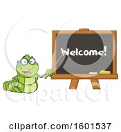 Clipart Of A Cartoon Caterpillar Teacher Mascot Character Pointing To Welcome Text On A Black Board Royalty Free Vector Illustration