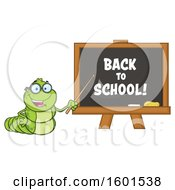 Clipart Of A Cartoon Caterpillar Teacher Mascot Character Pointing To Back To School Text On A Black Board Royalty Free Vector Illustration