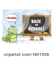 Clipart Of A Cartoon Caterpillar Teacher Mascot Character Pointing To Back To School Text On A Black Board Over Blue Royalty Free Vector Illustration