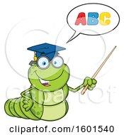 Cartoon Caterpillar Teacher Mascot Character Teaching The ABCs And Holding A Pointer Stick