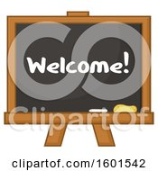 Clipart Of A Welcome School Black Board Royalty Free Vector Illustration