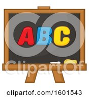Clipart Of A School Black Board With ABC Royalty Free Vector Illustration