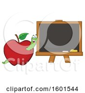 Clipart Of A Cartoon Worm In An Apple By A Black Board Royalty Free Vector Illustration