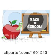 Clipart Of A Cartoon Worm In An Apple By A Back To School Black Board Royalty Free Vector Illustration