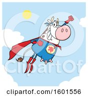 Flying Super Hero Cow Over Sky