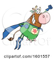 Flying Brown Super Hero Cow