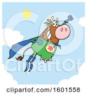 Flying Brown Super Hero Cow Over Sky
