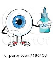 Cartoon Blue Eyeball Mascot Character With Drops