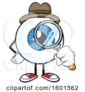 Cartoon Blue Eyeball Mascot Detective Character Looking Through A Magnifying Glass