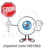 Cartoon Blue Eyeball Mascot Character Holding A Stop Sign