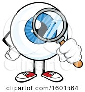 Cartoon Blue Eyeball Mascot Character Looking Through A Magnifying Glass