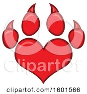 Clipart Of A Red Heart Shaped Paw Print Royalty Free Vector Illustration