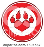 Clipart Of A Red Heart Shaped Paw Print In A Circle Royalty Free Vector Illustration