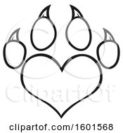 Clipart Of A Lineart Heart Shaped Paw Print Royalty Free Vector Illustration