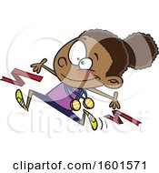Clipart Of A Cartoon Black Girl Athlete Breaking Through A Finish Line Royalty Free Vector Illustration