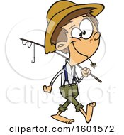 Poster, Art Print Of Cartoon White Boy Carrying A Fishing Pole