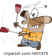 Clipart Of A Cartoon Black Man Using Two Swatters To Try To Kill A Fly Royalty Free Vector Illustration