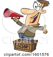 Cartoon White Man Using A Megaphone And Standing On A Soapbox