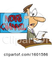 Clipart Of A Cartoon White Male News Anchor At Work Royalty Free Vector Illustration