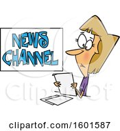 Cartoon White Female News Reporter At Work