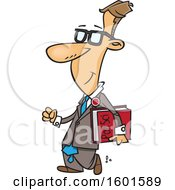 Clipart Of A Cartoon White Man Carrying A Political Science Book Royalty Free Vector Illustration