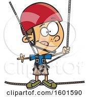 Clipart Of A Cartoon White Boy Taking A Ropes Course Royalty Free Vector Illustration