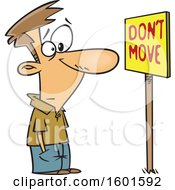 Cartoon White Man Staring At A Dont Move Sign