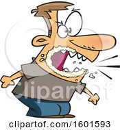Clipart Of A Cartoon Angry White Man Yelling And Foaming At The Mouth Royalty Free Vector Illustration