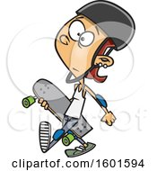 Cartoon White Teenage Skater Girl Carrying A Board