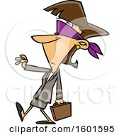 Cartoon Blindfolded White Business Woman Walking With A Hand Out