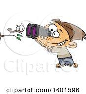 Cartoon White Boy Viewing A Bird Up Close With Binoculars