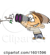 Cartoon White Boy Viewing A Bird Up Close With Binoculars