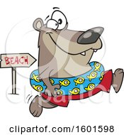 Clipart Of A Cartoon Summer Bear Wearing An Inner Tube And Running To The Beach Royalty Free Vector Illustration