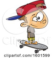 Clipart Of A Cartoon White Boy Skateboarding Royalty Free Vector Illustration