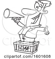 Cartoon Outline Man Using A Megaphone And Standing On A Soapbox