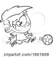 Cartoon Outline Boy Playing Soccer