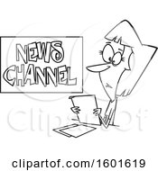 Cartoon Outline Female News Reporter At Work