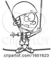 Cartoon Outline Boy Taking A Ropes Course