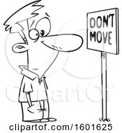 Cartoon Outline Man Staring At A Dont Move Sign
